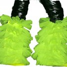 fluffy tutu legwarmers yellow uv neon boot cover dance
