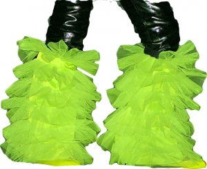 fluffy tutu legwarmers yellow uv neon boot cover dance
