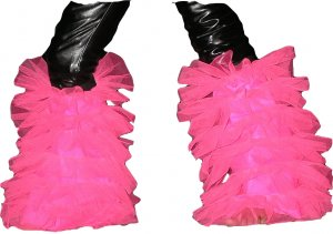 tutu fluffy legwarmers hot pink uv neon Boot Cover club