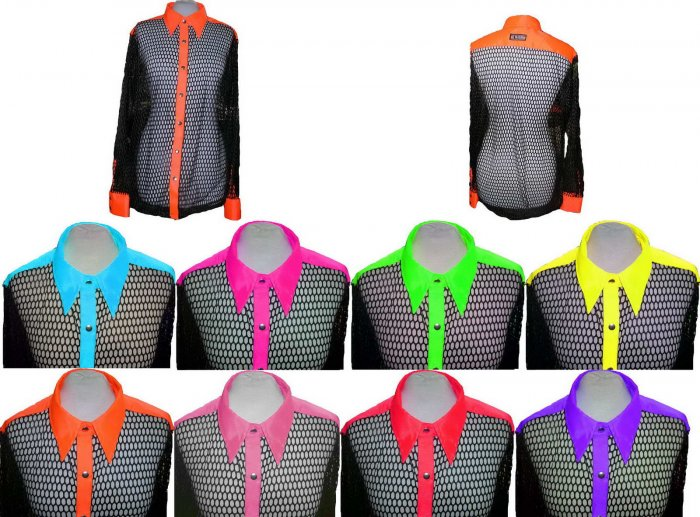 Neon Mesh Shirt Rave Punk Cyber Dancewear clubwear t-shirt tops top women unisex