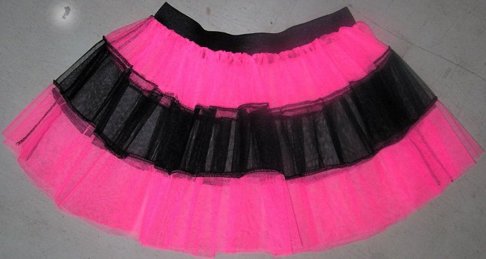HOT PINK TUTU SKIRT PETTICOAT DANCE RAVE CYBER NEON UV