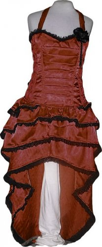 Brown Corset Steampunk CELEBRITY STYLE Cocktail Dress Steampunk Bustle
