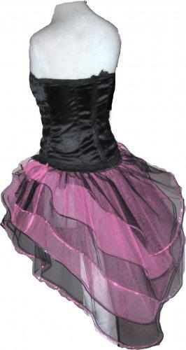 Baby Pink Black Peacock Tutu Skirt Bustle Petticoat tone dance rave hen party