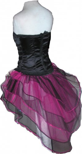 UV Neon Hot Pink Black Peacock Tutu Skirt Bustle Petticoat tone dress dance rave hen Clubwear party