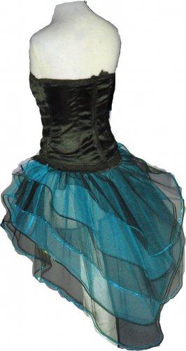 Blue Black Peacock Tutu Skirt Bustle Petticoat tone dress dance rave Cyber Punk Hen Club party