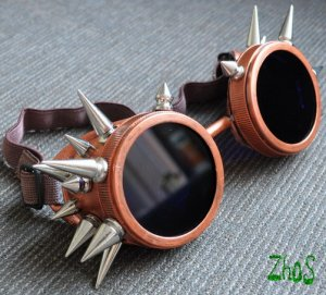 Cyber Goth Goggles Glasses 20 Spikes Cooper Punk Industrial Noise Dark Wave Steampunk 59