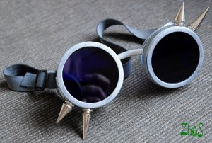 Cyber Goth Goggles Glasses 4 Spikes Silver Punk Industrial Noise Dark Wave Steampunk 62