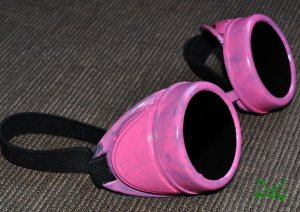 Steampunk Cyber Goggles Glasses Cosplay Anime Larp Rave Halloween Pink 180