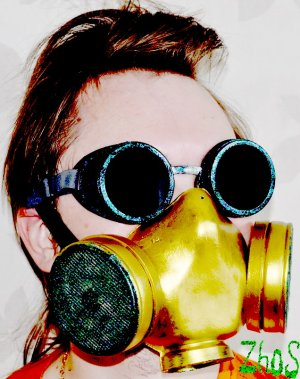 Gold Cyber Mask Cyber Goth Respirator Gas Mask and Steampunk Cyber Goggles Sheen