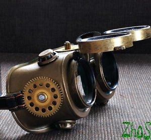 Steampunk Goggles Glasses Cyber post Apocalypse bronze gold Gear wheels watch