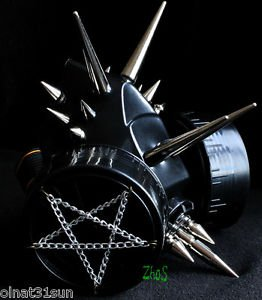 Black Handmade Mask Respirator Gas Mask Goth Spikes Fetish Cosplay Pentagram