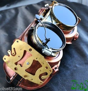 Steampunk Goggles bronze gold post Apocalypse mad professor Gear wheels watch