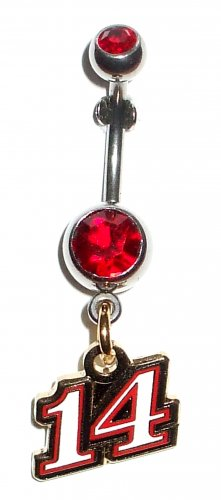 DANGLE BELLY RING #14 TONY STEWART NASCAR AUTO RACING
