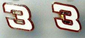 EARRINGS POST/STUD #3 DALE EARNHARDT SR NASCAR JEWELRY