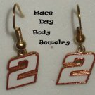 EARRINGS DANGLE #2 NASCAR AUTO RACING RACE CAR JEWELRY