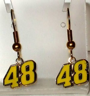 EARRINGS DANGLE #48 JIMMIE JOHNSON NASCAR RACE JEWELRY