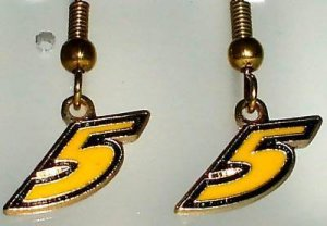 EARRINGS DANGLE #5 MARK MARTIN NASCAR RACING JEWELRY