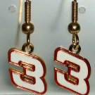 EARRINGS DANGLE #3 DALE EARNHARDT SR NASCAR JEWELRY