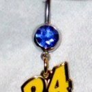DANGLE BELLY RING #24 NASCAR SPRINT CUP AUTO RACING RACE DAY BODY JEWELRY