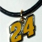 24 CHARM ON BLACK LEATHER NECKLACE NASCAR AUTO RACING RACE DAY BODY JEWELRY