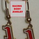 DANGLE EARRINGS #1 JAMIE MCMURRAY NASCAR SPRINT CUP AUTO RACING RACE JEWELRY