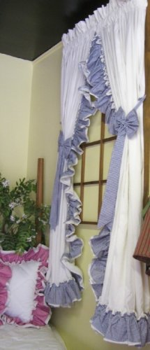 AMY DOUBLE RUFFLED GINGHAM SWAG CURTAINS - 135 W x 54 L