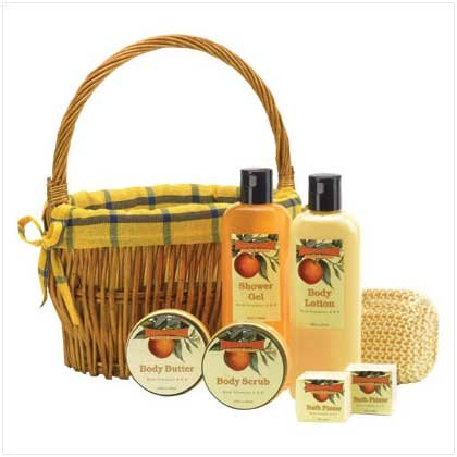 Orange Bath Set in Willow Basket