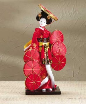 31417 Japanese Porcelain Doll with Colorful Hats