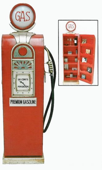 "73"" Gasoline Pump Clock & Storage Unit"