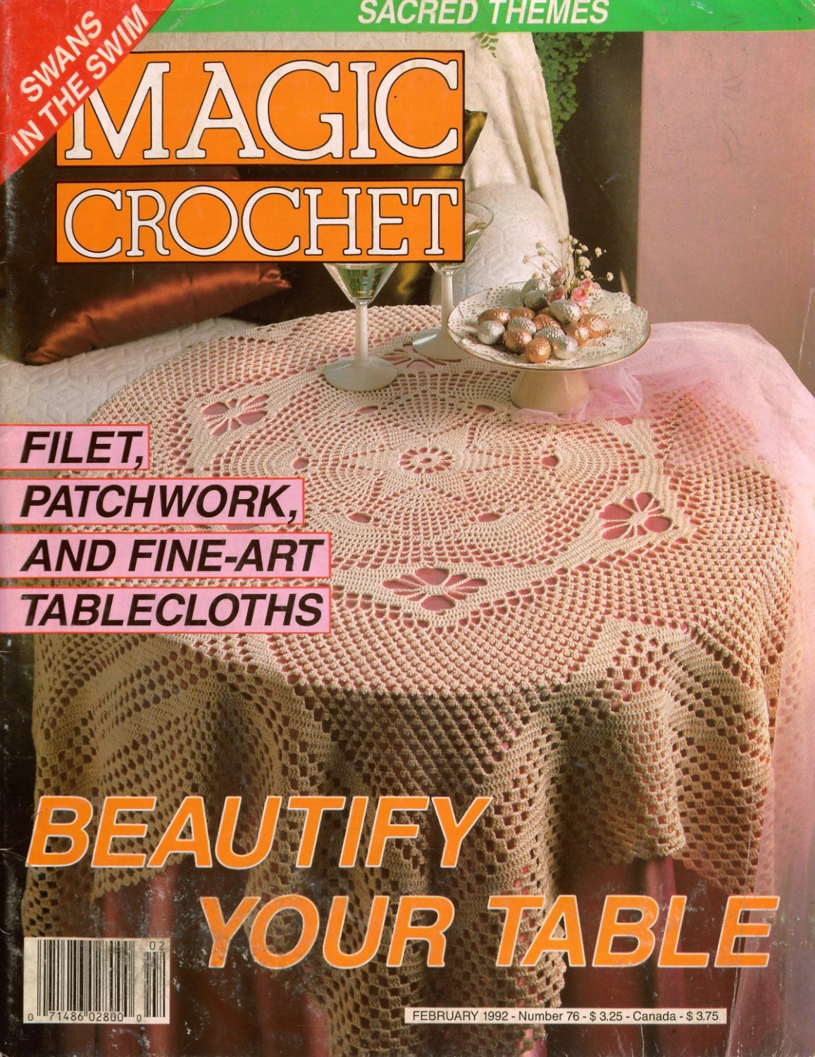 Magic Crochet Magazine : Magic Crochet Magazine #76 Feb 1992 Patterns Bedspread Tablecloth ...