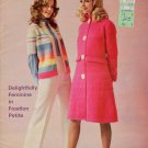 Vtg 70s Knitting Crochet Patterns Book Dress Afghan Shawl Mohair Frostlon Petite