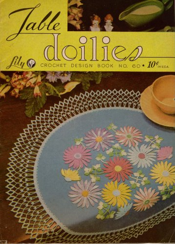 Crochet Patterns Table Doilies Lily Mills Butterfly Flower Place Mat Centerpiece 1951