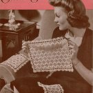 Vtg Crochet Knitting Patterns Chair Sets Doily Curtain Pulls Pineapple 1944