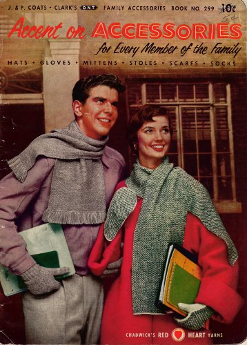 Vintage Knitting Patterns Accessories Caps Gloves Stole Socks Mittens 1953