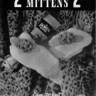 Knitting Patterns Doreen 2 Needle Mittens Family Cable Baby Child 1945