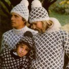 Bernat Icespun Knitting Patterns Krysta Husky Sweater Poncho Hat Family 1977