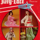 Jiffy Lace Broomstick Crochet Patterns Purse Dress Robe Afghan Scarf 1970