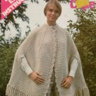 Leisure Arts 23 Crochet Pattern Crocheted Cape Shell Fringe Border 1973