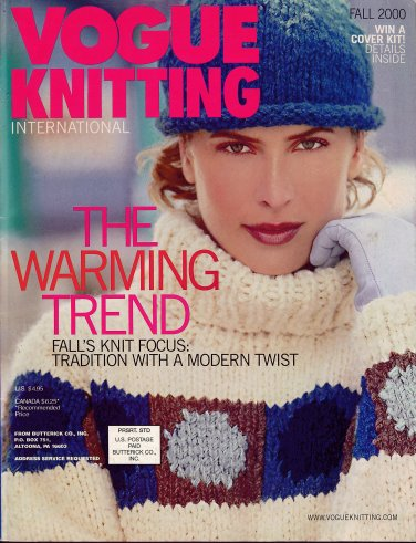 VOGUE KNITTING Fall 2000 Hooded Cable Coat Aran Poncho Oscar de la Renta