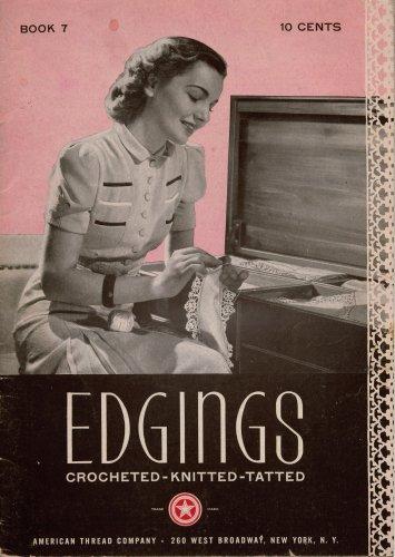 Vintage Edgings Crochet Knit Tatting 89 Patterns Irish Filet Star Book 7 1940