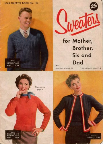 Knitting Crochet Patterns Sweaters Family Mother Dad Shrug Socks Jacket 1960s