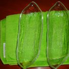 Vintage Clear Glass Corn Cob Holders Set of 4