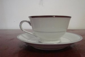 HARMONY HOUSE FINE CHINA SILVER MELODY CUP & SAUCER