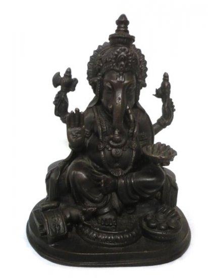 "Black Ganesha  Hindu God Brass Statue : Size 8""x6"""