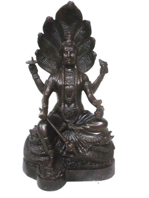 Black Vishnu Hindu God Brass Statue :size 13x7.5