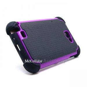 Black Purple X Shield Hard Case Gel Cover Samsung Galaxy Note AT&T i717 N7000