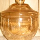 Amber Etched Glass Apothecary Lidded Jar