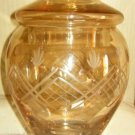 Amber Etched Glass Apothecary Lidded Jar (Medium)