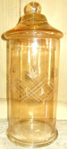 Amber Etched Glass Apothecary Lidded Jar (Large)