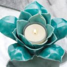 "DELICATE BLUE LOTUS FLOWER SINGLE TEALIGHT CANDLE HOLDER  5¼"" x 5"" x 2¼"" high"